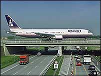 Plane over motorway