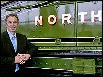 Tony Blair opens the Locomotion railway museum in Shildon