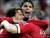 Ruud van Nistelrooy, Cristiano Ronaldo and Wayne Rooney