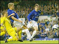 Everton striker James Beattie prods home for an Everton equaliser but his side lost 2-1