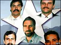 A poster of five Cubans jailed in the United States