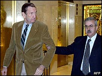 Former US Attorney General Ramsey Clark with Arab Lawyers Union Assistant Secretary General Ziad Khasawneh in Amman
