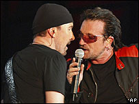 U2's The Edge and Bono in Milan on 20 July