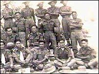 Major Neville Hogan (second row, extreme left) with his fellow Chindits