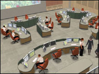 Artist's impression of the fire control room