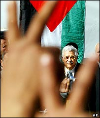 Mahmoud Abbas on the campaign trail in Tulkarm