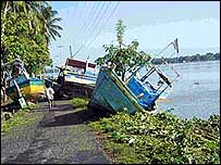 Boats overturned in Batticaloa