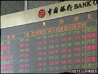 Foreign exchange board at a Bank of China branch