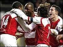 Patrick Vieira (second left) celebrates his goal for Arsenal