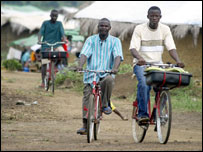 People ride Royal Mail bikes in Liberia