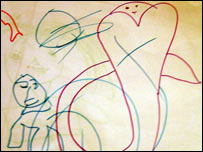 a child's drawing of the tsunami (photo courtesy of IMC)
