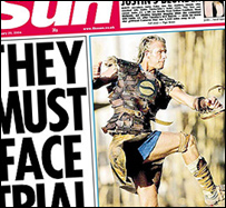 Beckham in Sun front page