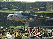 Indian air force helicopter in Galle Sri Lanka