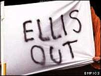 Fans protest against Doug Ellis