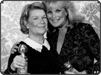 Barbara Bel Geddes (left) with Linda Evans, who starred in rival soap Dynasty
