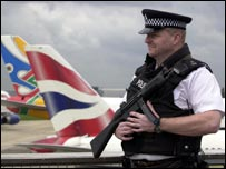 An armed police officer at London's Heathrow Airport