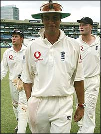 Michael Vaughan leads England off the field