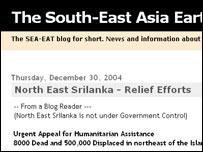 Screengrab of tsunami weblog, Sea-Eat