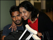 Shenth Ravindra with his mother Niro Ratman