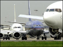 Airliners on tarmac