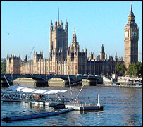 Houses of Parliament and River Thames, London