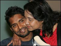 Shenth Ravindra is greeted by his mother at London Heathrow