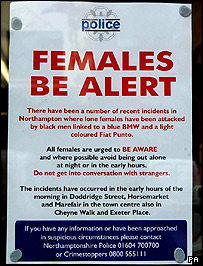 Police poster warning woman to be vigilant