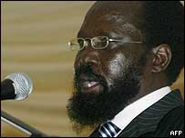 Vice-President Salva Kiir making his inaugural speech