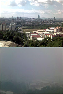 Photo taken by Tim Owel. View from a balcony before and during the haze
