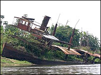 An abandoned paddle steamer
