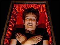 Kay Groom lying in her coffin