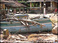 A wrecked boat