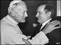 Pope John Paul II (left) and Lech Walesa in 1987