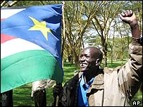 SPLM supporter in Naivasha, Kenya