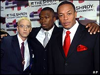 Rap stars Eminem (left), 50 Cent (centre) and Dr Dre