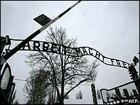 A view of the entrance of the former Auschwitz death camp