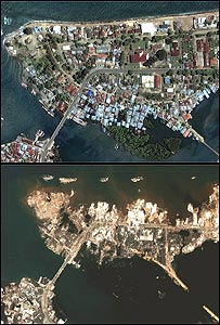 Satellite images of Banda Aceh before (top) and after 26 December quake and sea surges