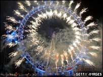 Fireworks on the London Eye