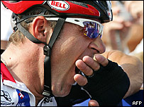 Italian cyclist Giovanni Lombardi yawning before Tour de France race