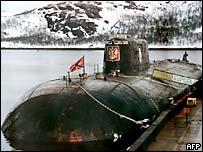 The Kursk submarine at Russia's Vidyayevo naval base