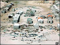 Wrecked homes in Hafun, Somalia
