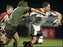 Ulster's Andy Ward is challenged by Matt Lacey of Connacht