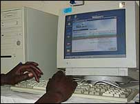 Kenyan using a computer