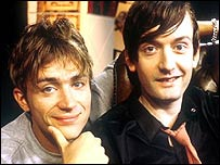 Blur singer Damon Albarn (left) with Pulp singer Jarvis Cocker