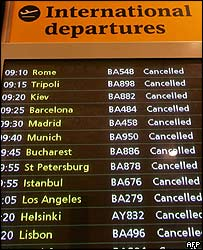 Monitor at Heathrow Airport lists cancelled flights