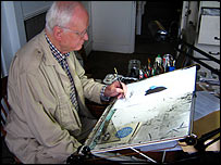 Wally Fawkes at home in his studio