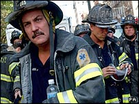 New York firefighters at World Trade Center on 9/11
