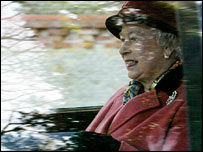 The Queen leaves Sandringham Church after the service