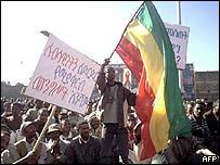 Demonstrators in Addis Ababa, Ethiopia