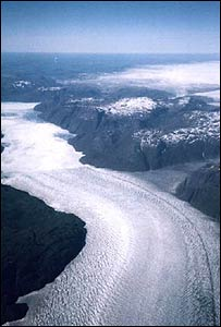 An aerial view of a glacier on the western coast of Greenland. (Photo: Richard Hollingham)
